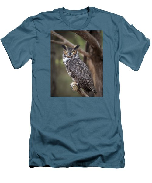 Men's T-Shirt (Slim Fit) featuring the photograph Great Horned Owl by Tyson and Kathy Smith