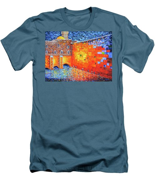 Men's T-Shirt (Athletic Fit) featuring the painting Wailing Wall Greatness In The Evening Jerusalem Palette Knife Painting by Georgeta Blanaru