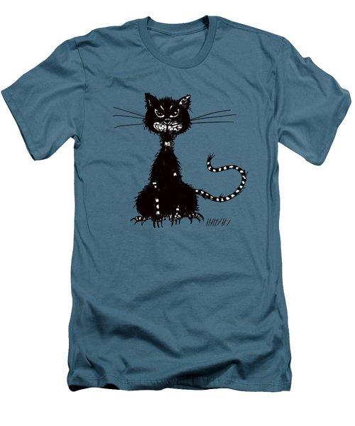 Green Grunge Evil Black Cat Men's T-Shirt (Athletic Fit)