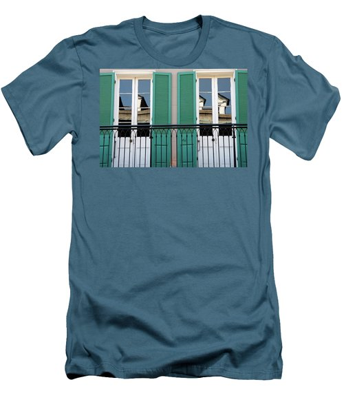 Men's T-Shirt (Slim Fit) featuring the photograph Green Shutters Reflections by KG Thienemann