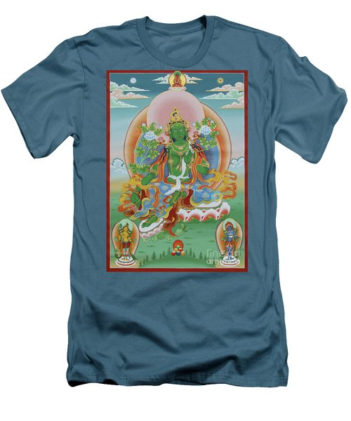 Green Tara With Retinue Men's T-Shirt (Slim Fit) by Sergey Noskov
