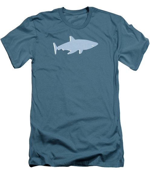 Men's T-Shirt (Slim Fit) featuring the mixed media Grey And Yellow Shark by Linda Woods