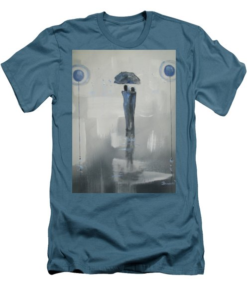 Men's T-Shirt (Slim Fit) featuring the painting Grey Day Romance by Raymond Doward