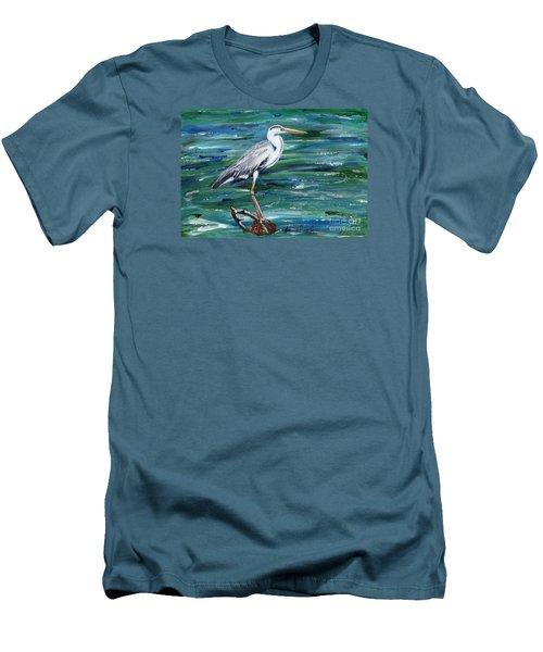 Grey Heron Of Cornwall -painting Men's T-Shirt (Slim Fit) by Veronica Rickard