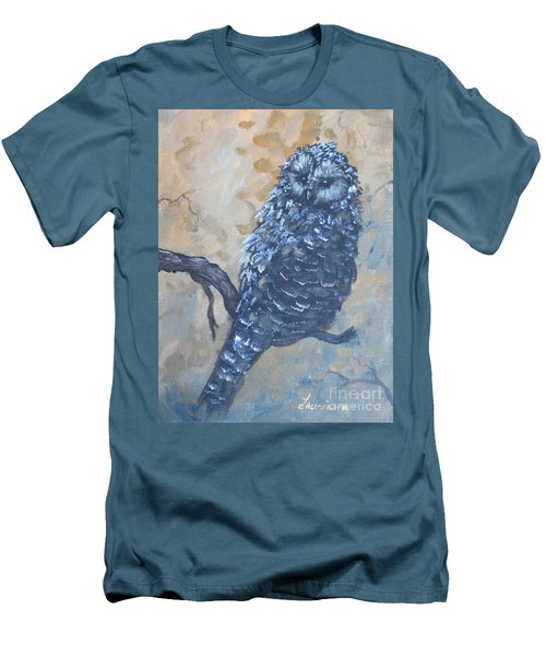 Grey Owl1 Men's T-Shirt (Slim Fit) by Laurianna Taylor