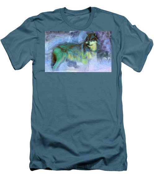 Grey Wolves In Snow Men's T-Shirt (Slim Fit) by Caito Junqueira