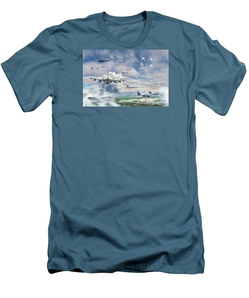 Men's T-Shirt (Slim Fit) featuring the painting Griffiss Air Force Base by Dave Luebbert