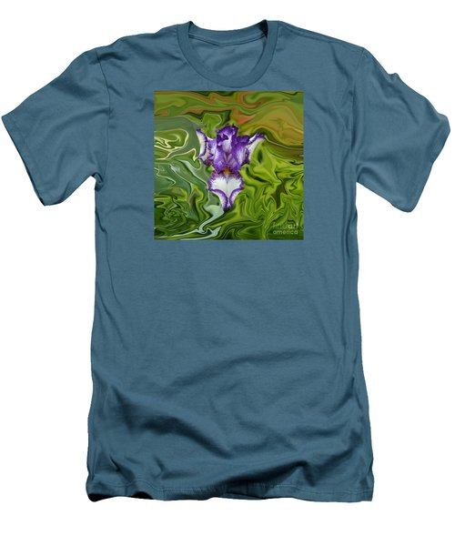Groovy Purple Iris Men's T-Shirt (Slim Fit) by Rebecca Margraf