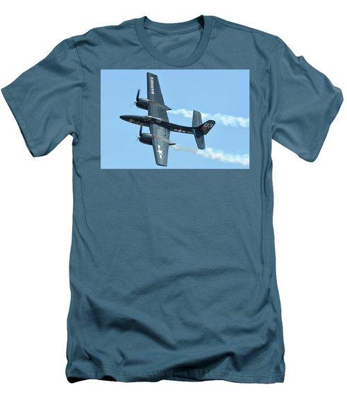 Men's T-Shirt (Slim Fit) featuring the photograph Grumman F7f-3p Tigercat Nx700f Here Kitty Kitty Chino California April 30 2016 by Brian Lockett