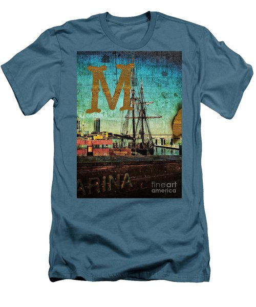 Grungy Melbourne Australia Alphabet Series Letter M Marina Dockl Men's T-Shirt (Athletic Fit)
