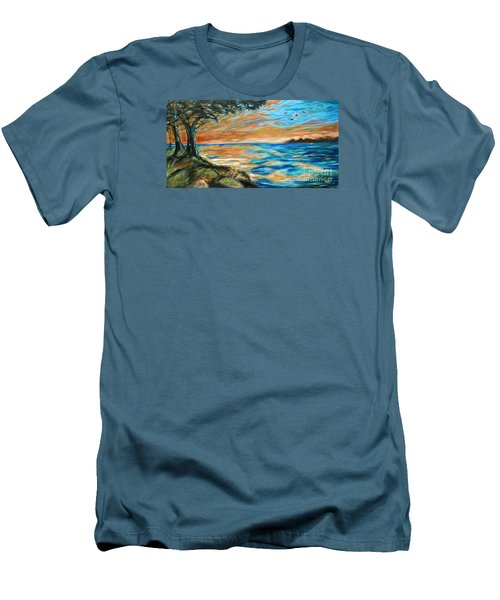 Guana Sunset Men's T-Shirt (Slim Fit) by Linda Olsen