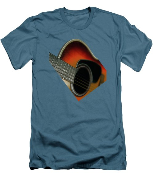Men's T-Shirt (Slim Fit) featuring the photograph  Guitar  Acoustic Close Up by Bruce Stanfield