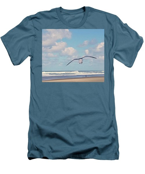 Men's T-Shirt (Slim Fit) featuring the photograph Gull Getaway by Suzy Piatt