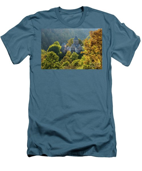 Haghartsin Monastery With Trees In Front At Autumn, Armenia Men's T-Shirt (Slim Fit) by Gurgen Bakhshetsyan