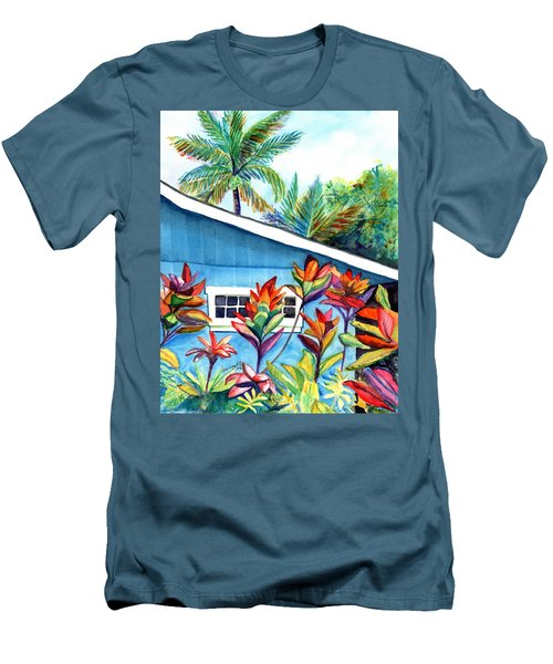Men's T-Shirt (Slim Fit) featuring the painting Hanalei Cottage by Marionette Taboniar