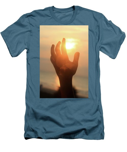 Hand Reaching Fore The Sun Men's T-Shirt (Slim Fit) by Emanuel Tanjala