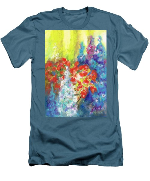 Hanging With The Delphiniums  Men's T-Shirt (Slim Fit) by Frances Marino