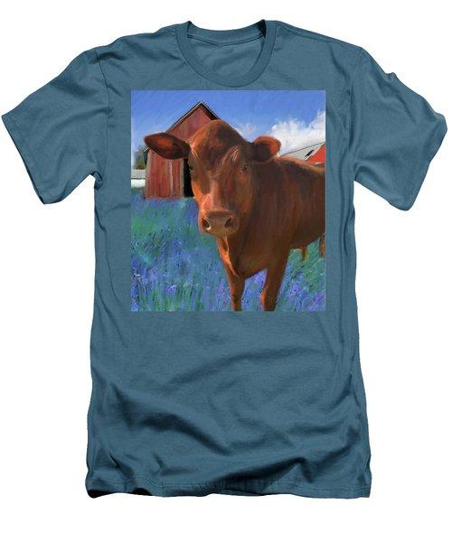 Happy Cow West Marin  Men's T-Shirt (Slim Fit) by Julianne Ososke