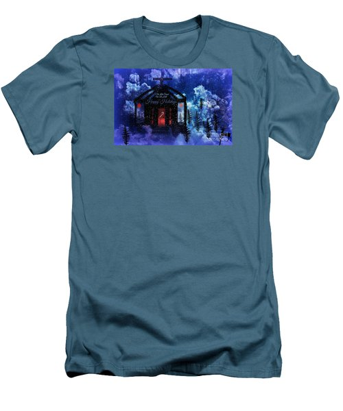 Men's T-Shirt (Slim Fit) featuring the digital art Happy Holiday Little Chapel On The Hill by Sherri  Of Palm Springs