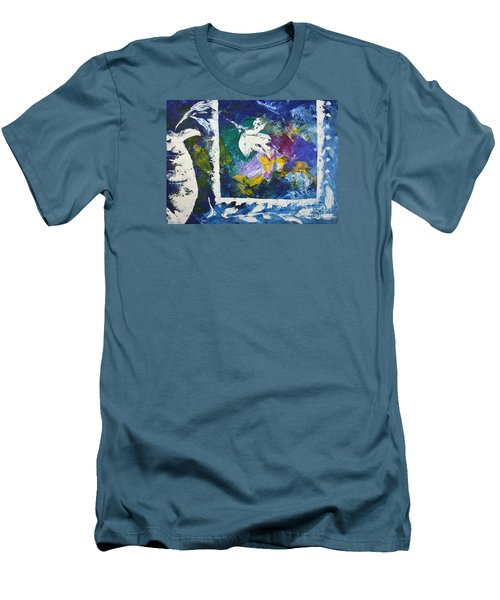 Happy To Be Inside Men's T-Shirt (Slim Fit) by Lynda Cookson