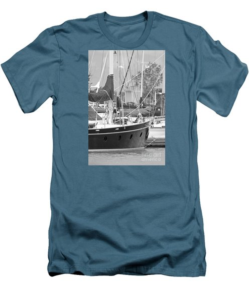 Harbor In Black And White Men's T-Shirt (Athletic Fit)