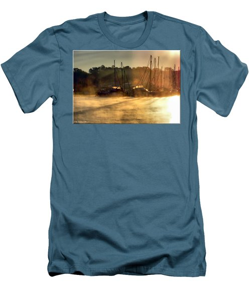 Men's T-Shirt (Slim Fit) featuring the photograph Harbor Mist by Brian Wallace