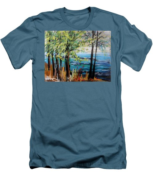 Men's T-Shirt (Slim Fit) featuring the painting Harbor Trees by John Williams