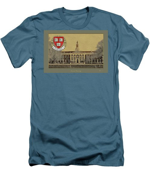 Harvard University Building Overlaid With 3d Coat Of Arms Men's T-Shirt (Athletic Fit)