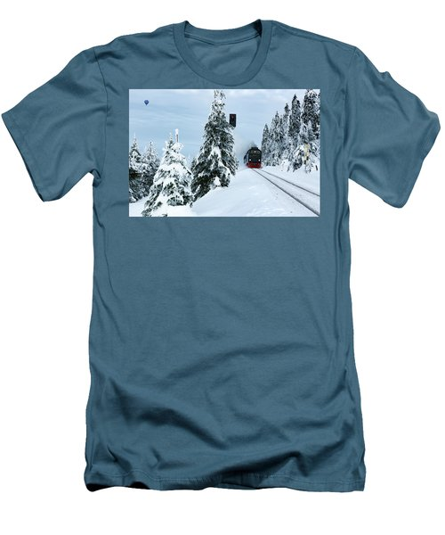 Harz Ballooning And Brocken Railway Men's T-Shirt (Slim Fit) by Andreas Levi