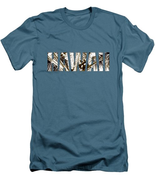 Hawaii Coconut Palm Type Men's T-Shirt (Slim Fit) by Kerri Ligatich