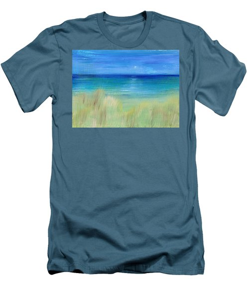 Hazy Beach Men's T-Shirt (Slim Fit) by Regina Valluzzi