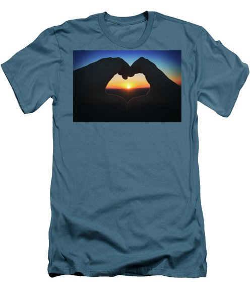 Men's T-Shirt (Slim Fit) featuring the photograph Heart Shaped Hand Silhouette - Sunset At Lapham Peak - Wisconsin by Jennifer Rondinelli Reilly - Fine Art Photography