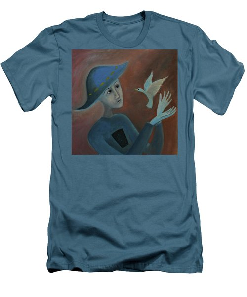 Men's T-Shirt (Slim Fit) featuring the painting Hello To You by Tone Aanderaa