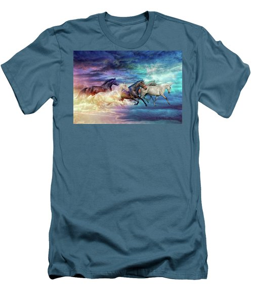 Herd Of Horses In Pastel Men's T-Shirt (Athletic Fit)