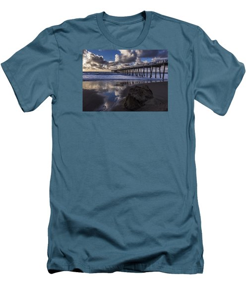 Hermosa Beach Pier Men's T-Shirt (Slim Fit) by Ed Clark