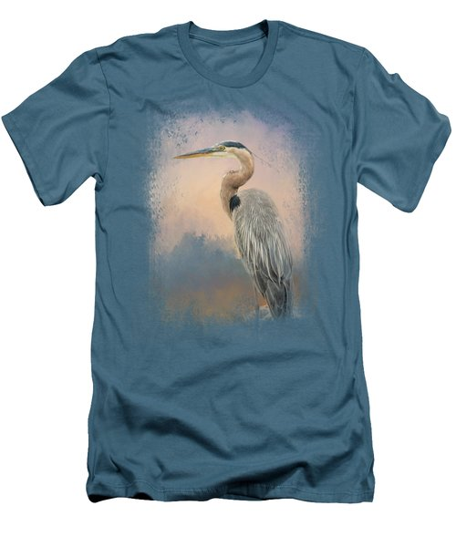 Heron On The Rocks Men's T-Shirt (Slim Fit) by Jai Johnson
