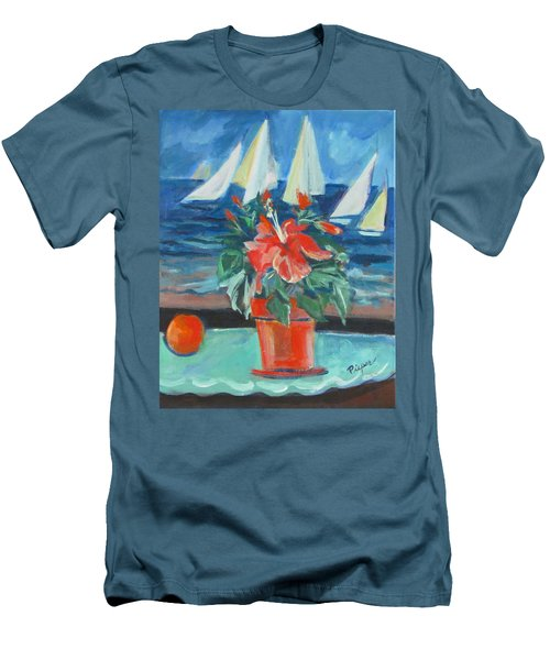 Hibiscus With An Orange And Sails For Breakfast Men's T-Shirt (Athletic Fit)