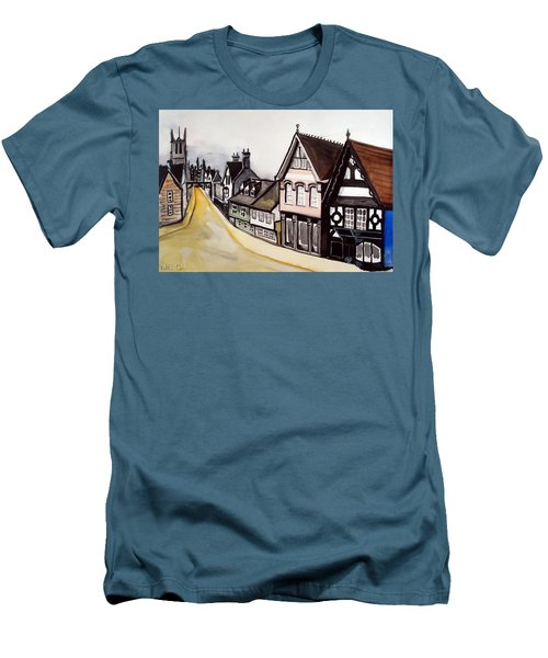 High Street Of Stamford In England Men's T-Shirt (Slim Fit) by Dora Hathazi Mendes