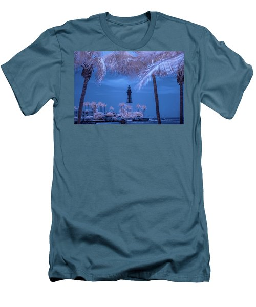 Men's T-Shirt (Slim Fit) featuring the photograph Hillsboro Inlet Lighthouse Infrared by Louis Ferreira