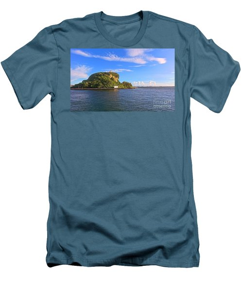 Men's T-Shirt (Slim Fit) featuring the photograph Historic Lighthouse On Chijin Island by Yali Shi