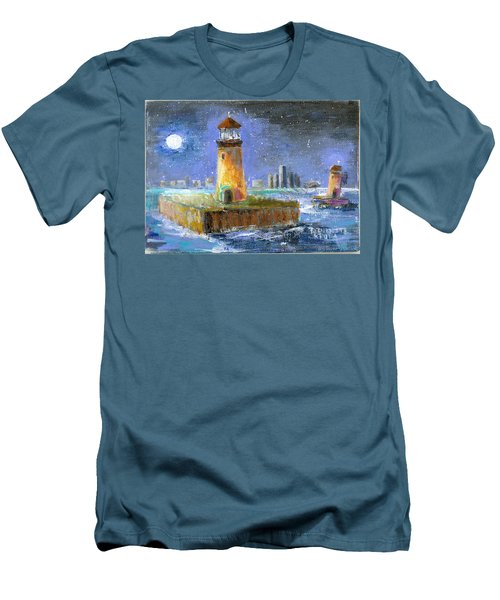 Historical 1859 South Channel Lights Full Moon Men's T-Shirt (Athletic Fit)