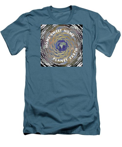 Men's T-Shirt (Slim Fit) featuring the digital art Home Sweet Home Planet Earth by Phil Perkins