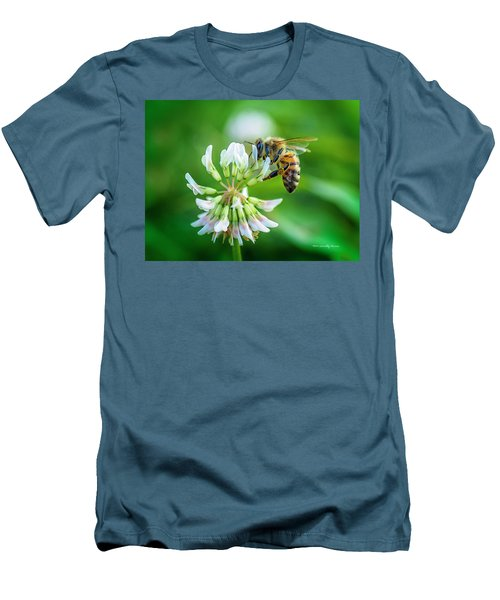 Honeybee On White Clover..... Men's T-Shirt (Athletic Fit)