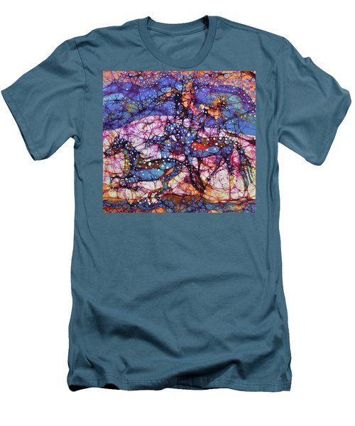 Horses Gallop In Snowfields Men's T-Shirt (Athletic Fit)