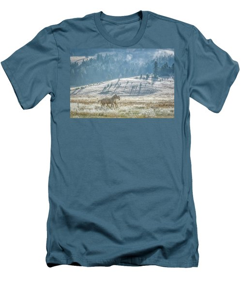 Horses In The Frost Men's T-Shirt (Slim Fit) by Keith Boone