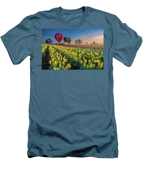 Men's T-Shirt (Slim Fit) featuring the photograph Hot Air Balloons Over Tulip Fields by William Lee