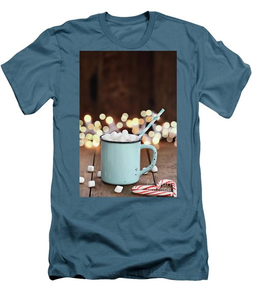 Hot Cocoa With Mini Marshmallows Men's T-Shirt (Slim Fit) by Stephanie Frey