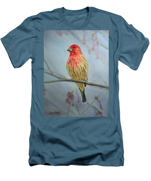 Men's T-Shirt (Slim Fit) featuring the painting House Finch by Marna Edwards Flavell