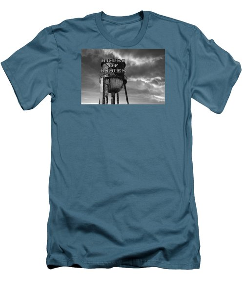 Men's T-Shirt (Slim Fit) featuring the photograph House Of Blues B/w by Laura Fasulo