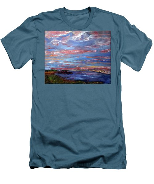 House On The Point Sunset Men's T-Shirt (Slim Fit) by Michael Helfen